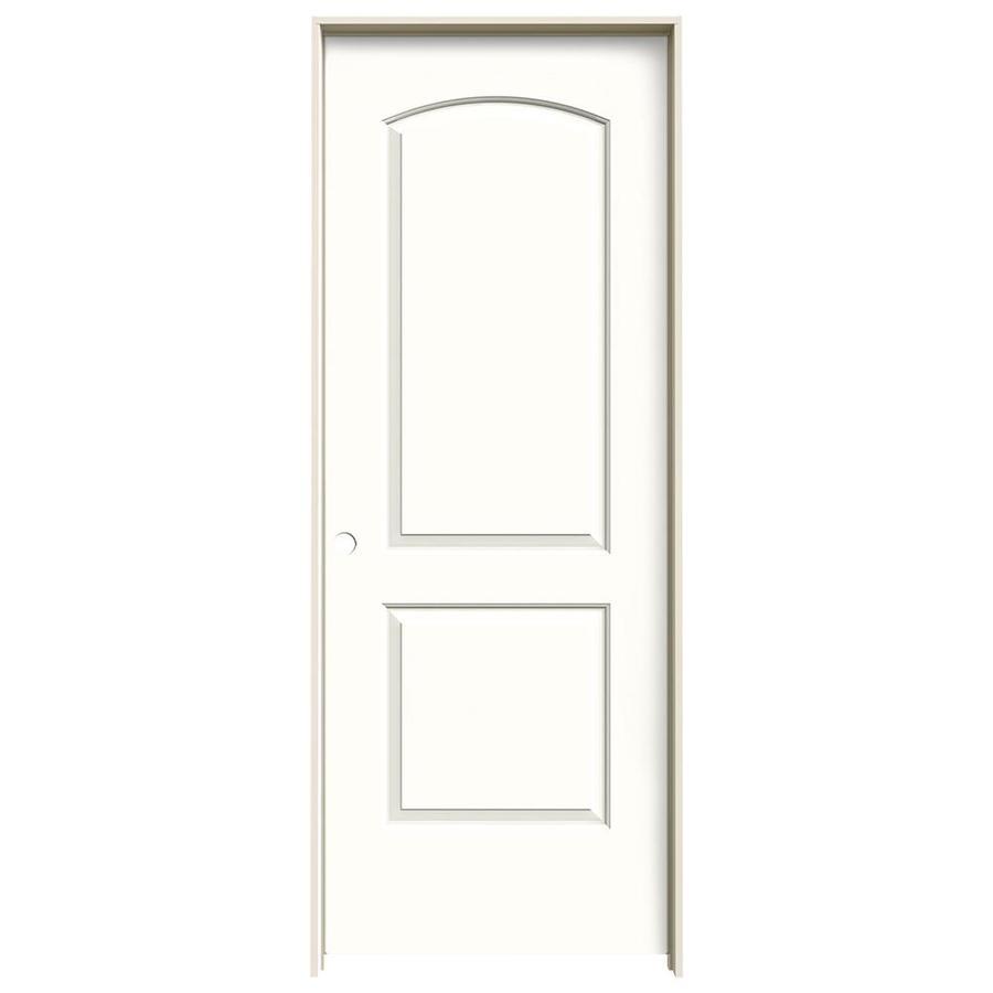 JELD-WEN Snow Storm 2-panel Round Top Single Prehung Interior Door (Common: 32-in X 80-in; Actual: 33.562-in x 81.688-in)