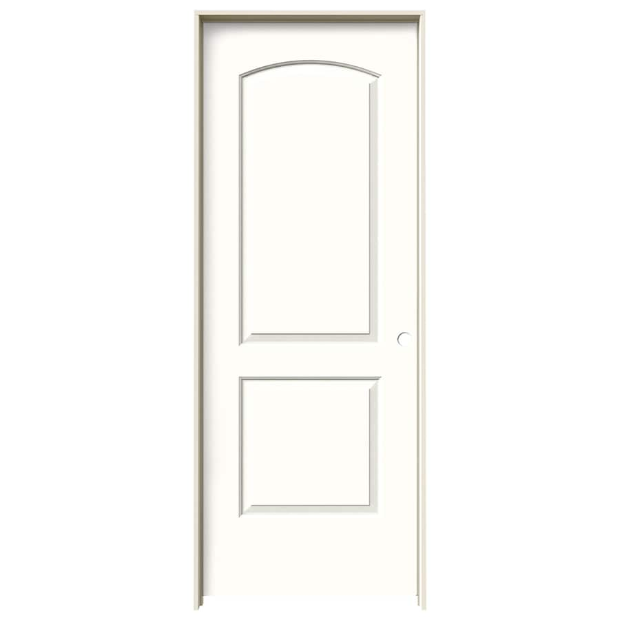 JELD-WEN Snow Storm 2-panel Round Top Single Prehung Interior Door (Common: 32-in x 80-in; Actual: 33.562-in x 81.688-in)