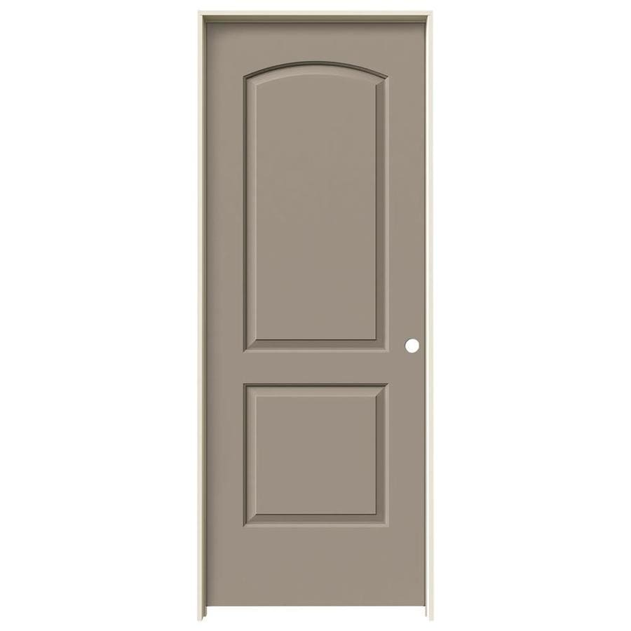JELD-WEN Sand Piper Prehung Solid Core 2-Panel Round Top Interior Door (Common: 24-in x 80-in; Actual: 25.562-in x 81.688-in)