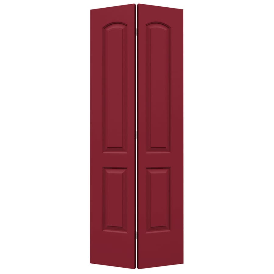 ReliaBilt Barn Red Hollow Core 2-Panel Round Top Bi-Fold Closet Interior Door (Common: 28-in x 80-in; Actual: 27.5-in x 79-in)