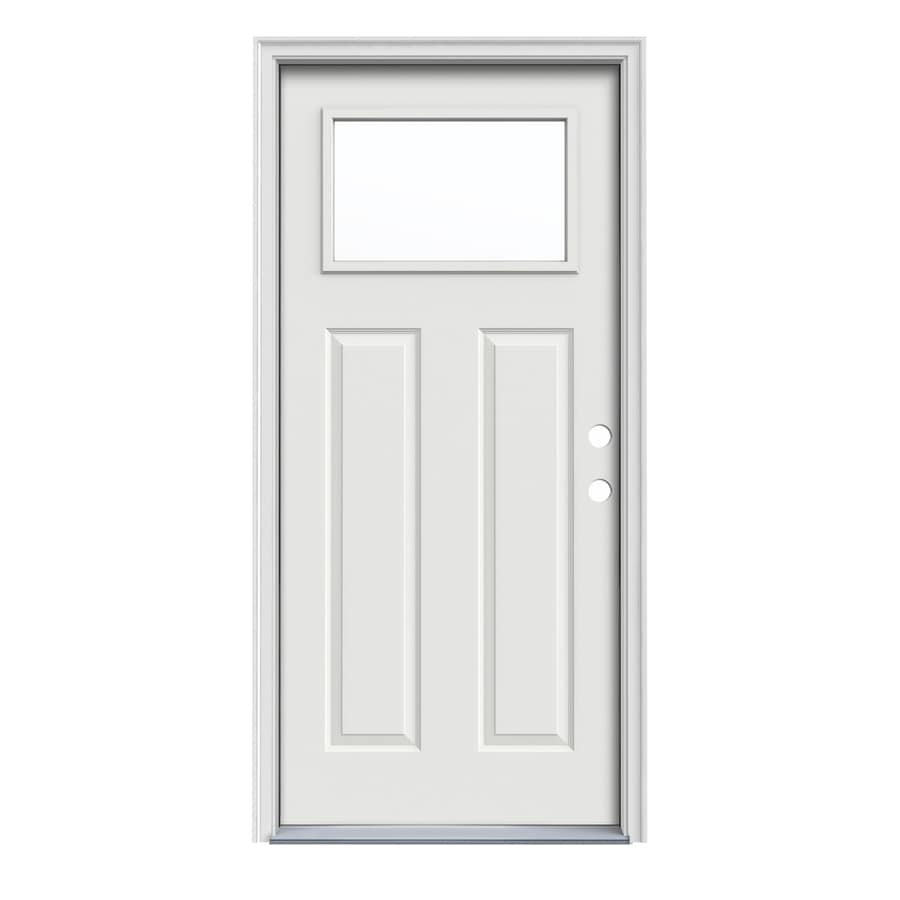 JELD-WEN Craftsman Insulating Core 1-Lite Left-Hand Inswing Arctic White Steel Painted Prehung Entry Door (Common: 32-in x 80-in; Actual: 33.5-in x 81.75-in)