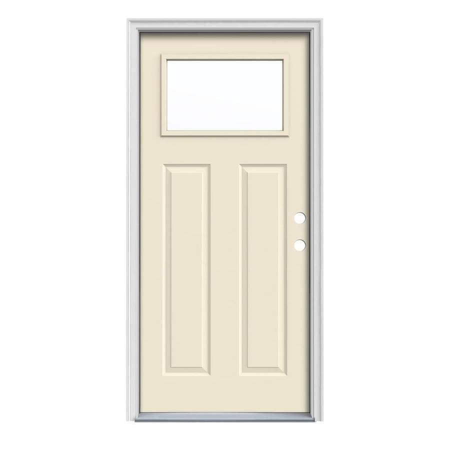 JELD-WEN Craftsman Insulating Core 1-Lite Left-Hand Inswing Bisque Steel Painted Prehung Entry Door (Common: 32-in x 80-in; Actual: 33.5-in x 81.75-in)