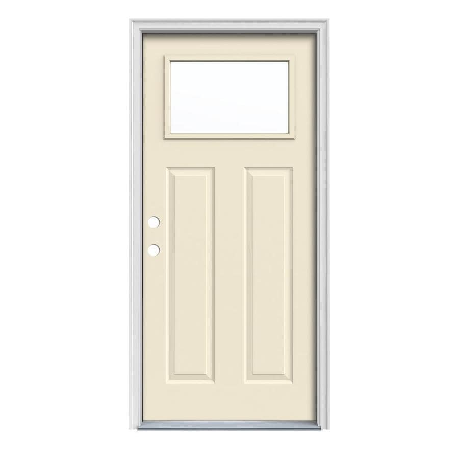 JELD-WEN Craftsman Insulating Core 1-Lite Right-Hand Inswing Bisque Steel Painted Prehung Entry Door (Common: 32-in x 80-in; Actual: 33.5-in x 81.75-in)