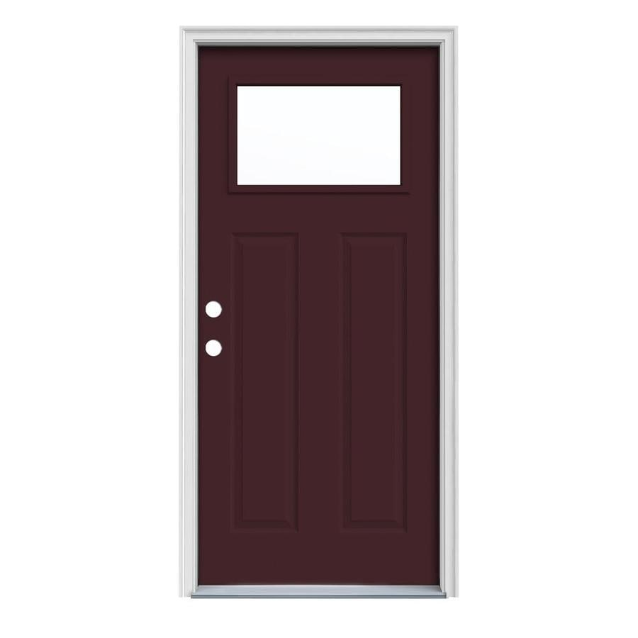 JELD-WEN Craftsman Decorative Glass Right-Hand Inswing Currant Painted Steel Prehung Entry Door with Insulating Core (Common: 32-in x 80-in; Actual: 33.5000-in x 81.7500-in)