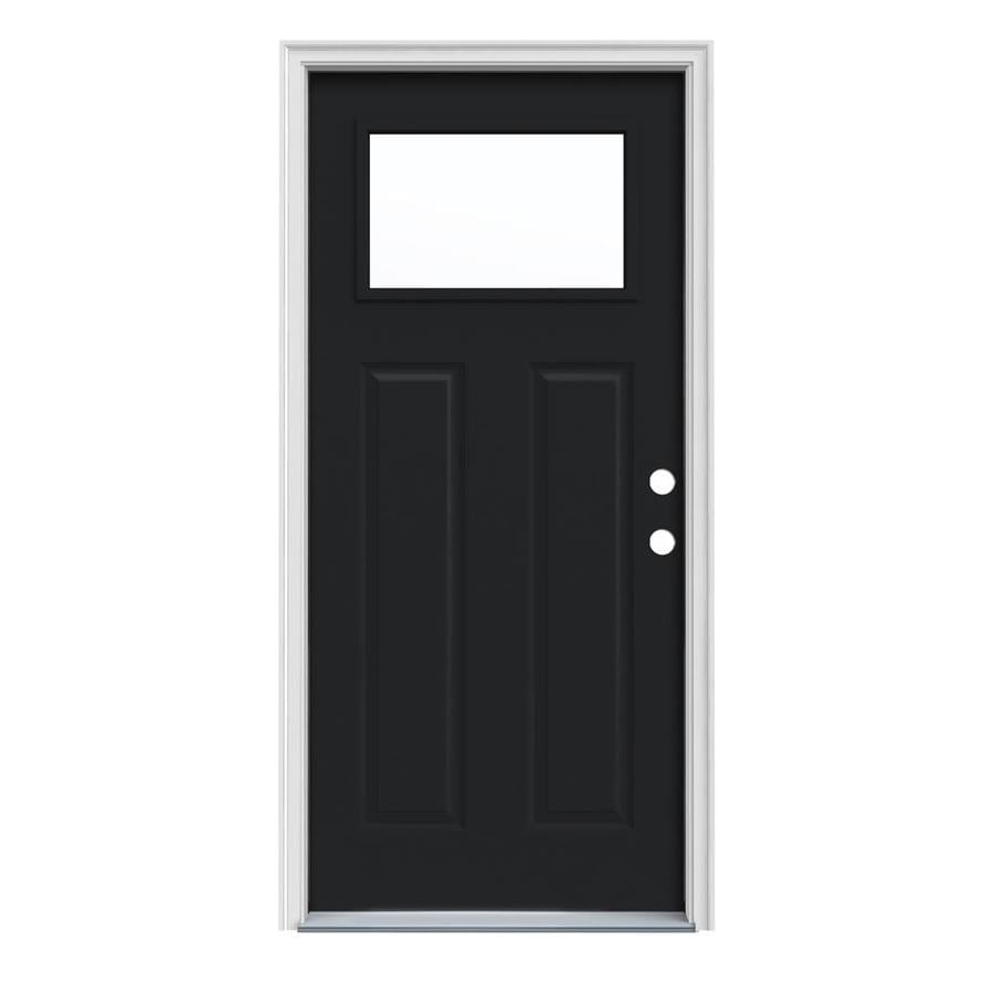 JELD-WEN Craftsman Insulating Core 1-Lite Left-Hand Inswing Peppercorn Steel Painted Prehung Entry Door (Common: 32-in x 80-in; Actual: 33.5-in x 81.75-in)