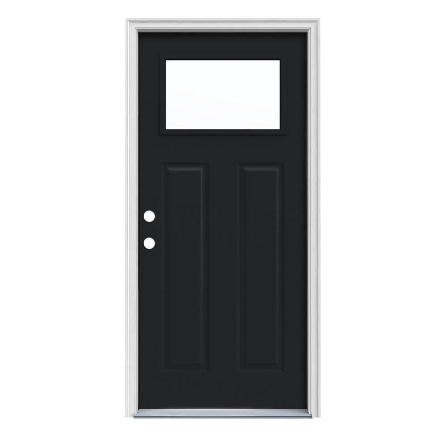 JELD-WEN Craftsman Insulating Core 1-Lite Right-Hand Inswing Peppercorn Steel Painted Prehung Entry Door (Common: 32-in x 80-in; Actual: 33.5-in x 81.75-in)