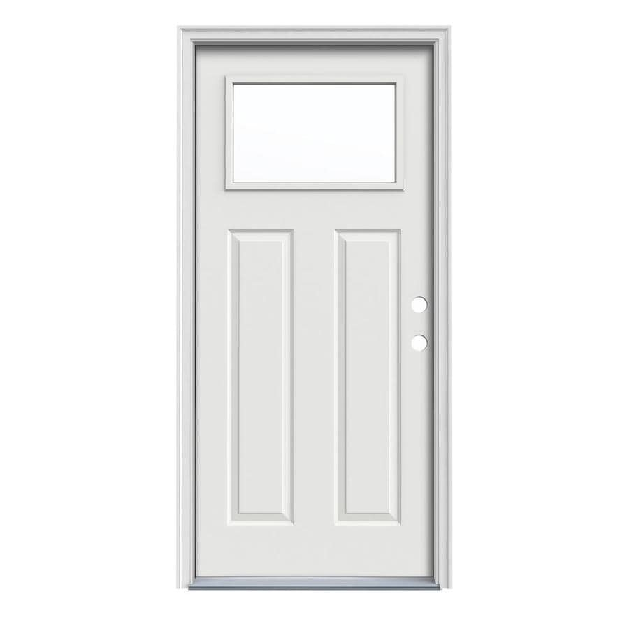 JELD-WEN Craftsman Decorative Glass Left-Hand Inswing Arctic White Painted Steel Prehung Entry Door with Insulating Core (Common: 36-in x 80-in; Actual: 37.5000-in x 81.7500-in)