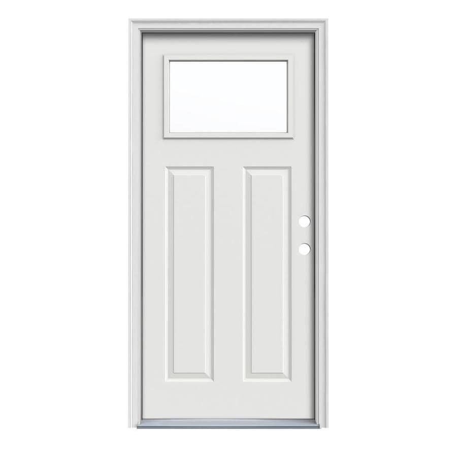 JELD-WEN Craftsman Insulating Core 1-Lite Left-Hand Inswing Arctic White Steel Painted Prehung Entry Door (Common: 36-in x 80-in; Actual: 37.5-in x 81.75-in)