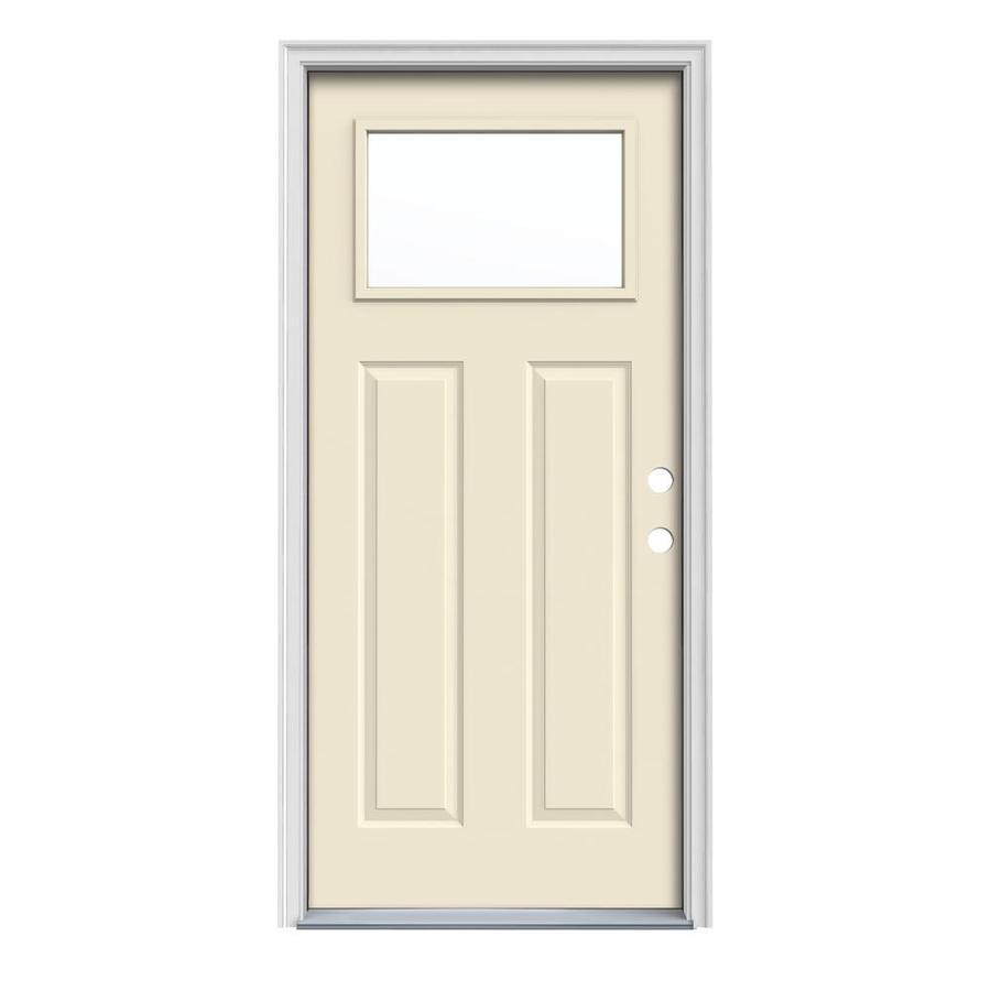 JELD-WEN Craftsman Insulating Core 1-Lite Left-Hand Inswing Bisque Steel Painted Prehung Entry Door (Common: 36-in x 80-in; Actual: 37.5-in x 81.75-in)