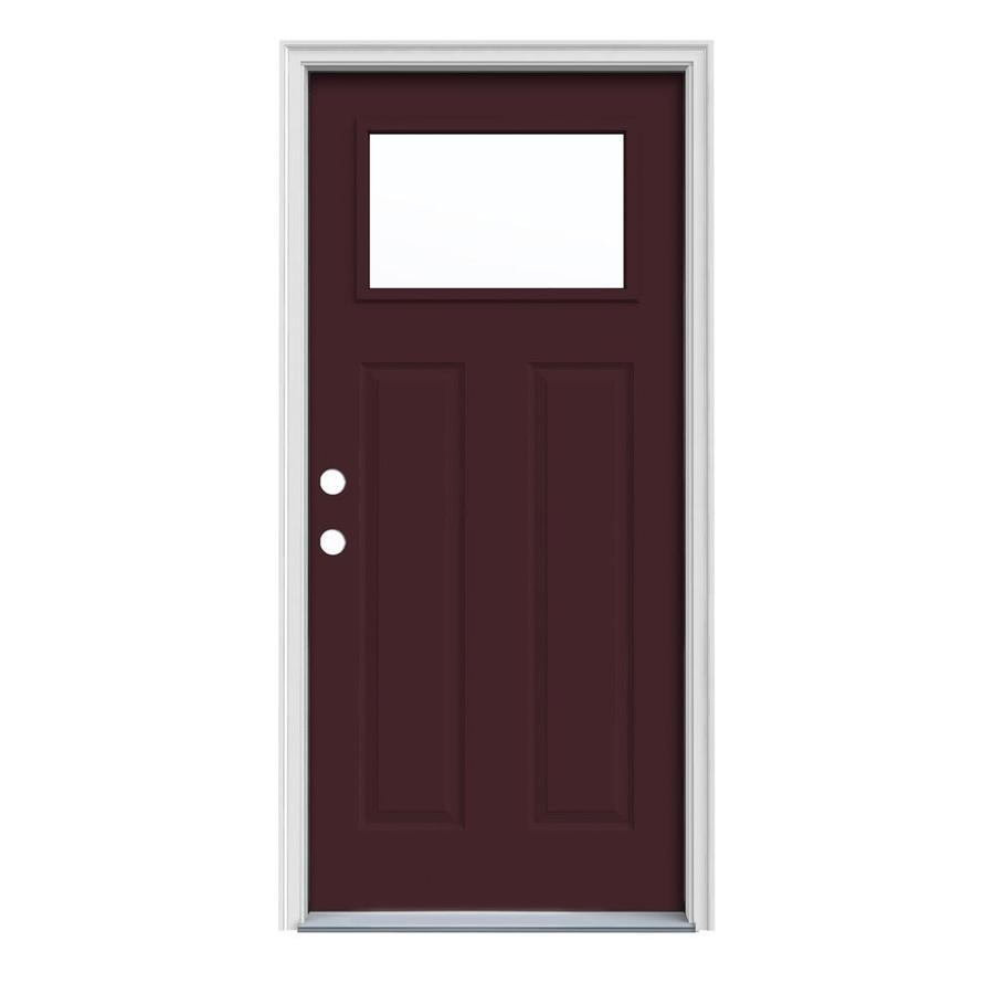JELD-WEN Craftsman Insulating Core 1-Lite Right-Hand Inswing Currant Steel Painted Prehung Entry Door (Common: 36-in x 80-in; Actual: 37.5-in x 81.75-in)