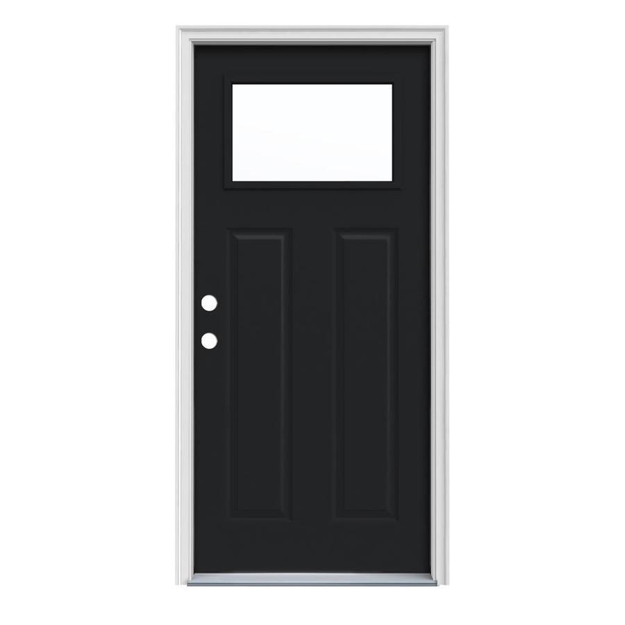JELD-WEN Craftsman Insulating Core 1-Lite Right-Hand Inswing Peppercorn Steel Painted Prehung Entry Door (Common: 36-in x 80-in; Actual: 37.5-in x 81.75-in)