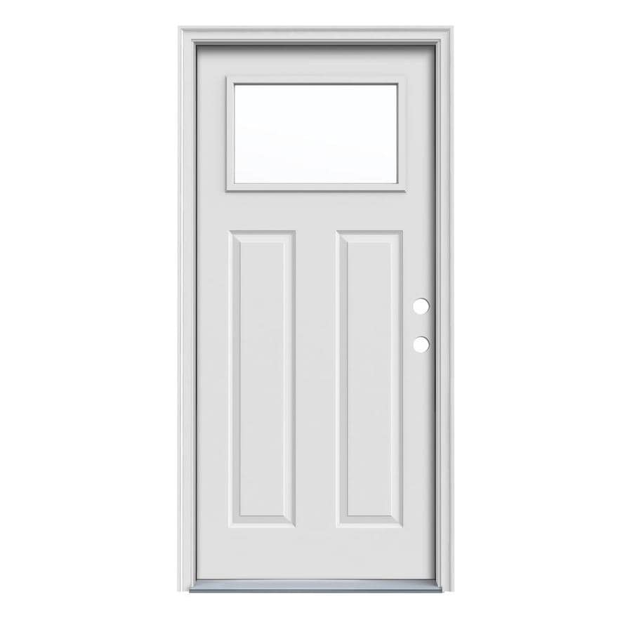 JELD-WEN Craftsman Insulating Core 1-Lite Left-Hand Inswing Steel Primed Prehung Entry Door (Common: 36-in x 80-in; Actual: 37.5-in x 81.75-in)