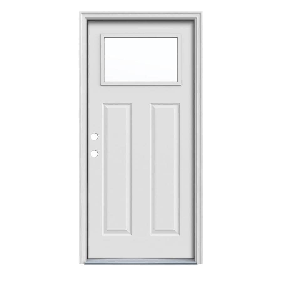 JELD-WEN Craftsman Decorative Glass Right-Hand Inswing Steel Primed Entry Door (Common: 36-in x 80-in; Actual: 37.5000-in x 81.7500-in)