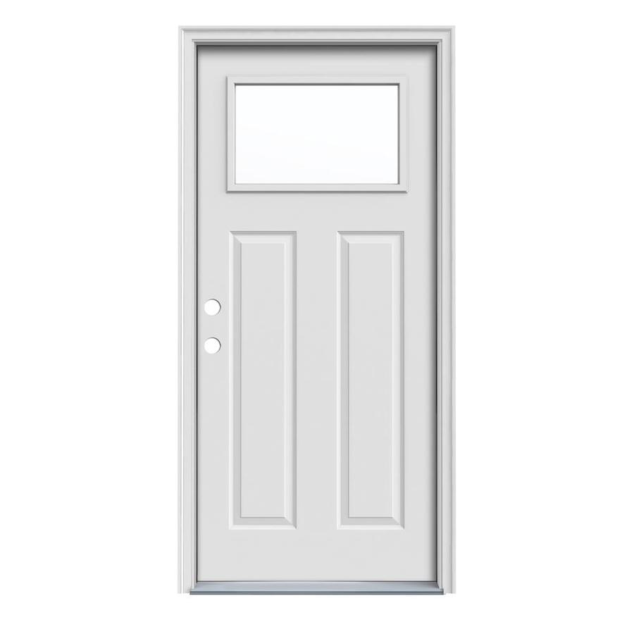 JELD-WEN Craftsman Insulating Core 1-Lite Right-Hand Inswing Steel Primed Prehung Entry Door (Common: 36-in x 80-in; Actual: 37.5-in x 81.75-in)