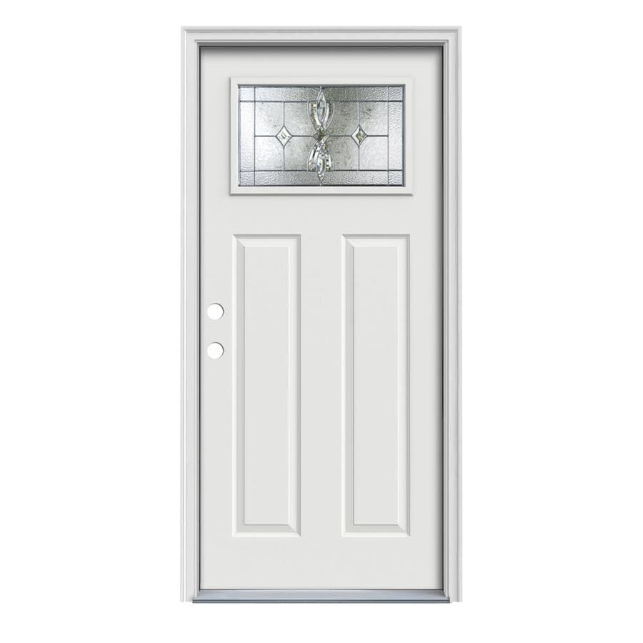 JELD-WEN Laurel Decorative Glass Right-Hand Inswing Arctic White Painted Steel Prehung Entry Door with Insulating Core (Common: 32-in x 80-in; Actual: 33.5000-in x 81.7500-in)