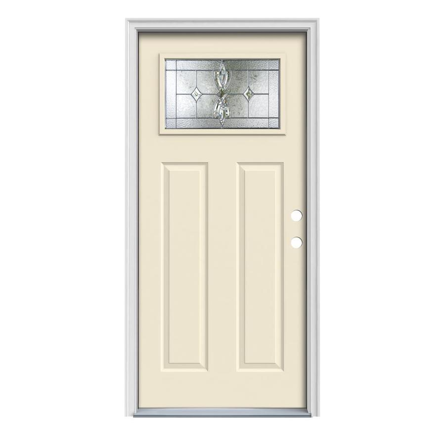 JELD-WEN Laurel Craftsman Insulating Core 1-Lite Left-Hand Inswing Bisque Steel Painted Prehung Entry Door (Common: 32-in x 80-in; Actual: 33.5-in x 81.75-in)
