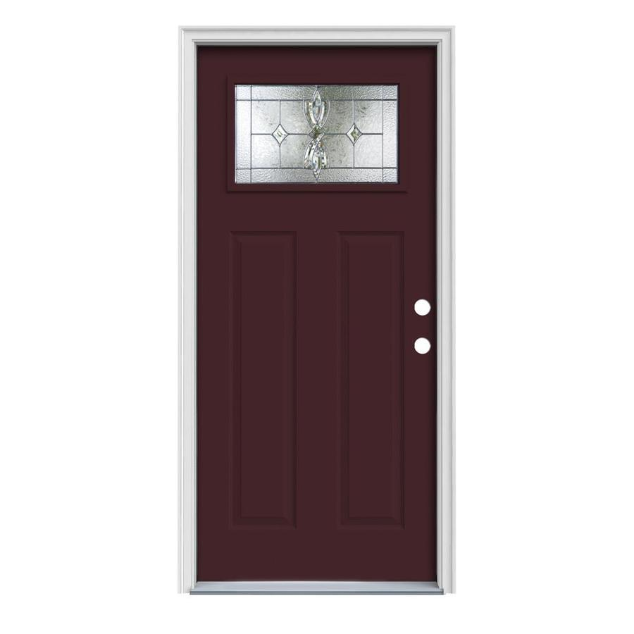 JELD-WEN Laurel Decorative Glass Left-Hand Inswing Currant Painted Steel Prehung Entry Door with Insulating Core (Common: 32-in x 80-in; Actual: 33.5000-in x 81.7500-in)