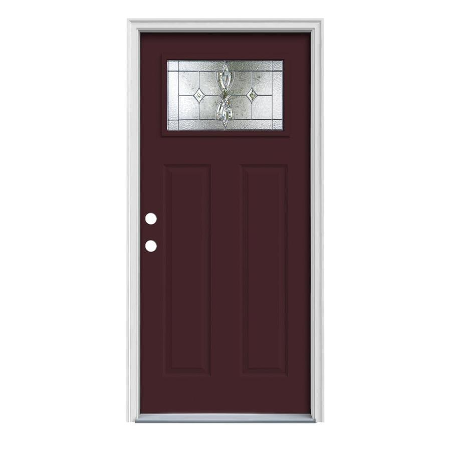 JELD-WEN Laurel Decorative Glass Right-Hand Inswing Currant Steel Painted Entry Door (Common: 32-in x 80-in; Actual: 33.5-in x 81.75-in)