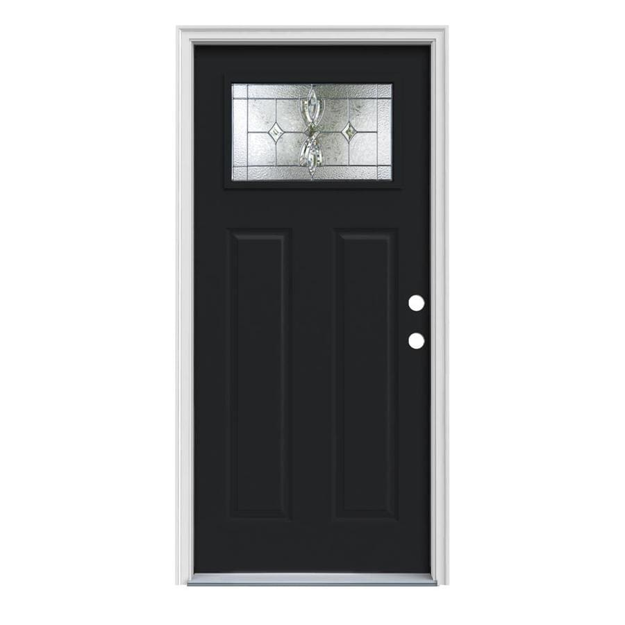 JELD-WEN Laurel Craftsman Insulating Core 1-Lite Left-Hand Inswing Peppercorn Steel Painted Prehung Entry Door (Common: 32-in x 80-in; Actual: 33.5-in x 81.75-in)