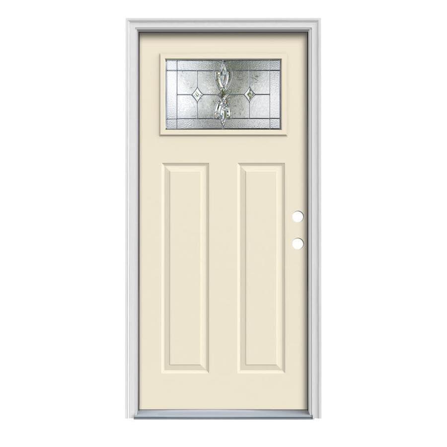 JELD-WEN Laurel Craftsman Insulating Core 1-Lite Left-Hand Inswing Bisque Steel Painted Prehung Entry Door (Common: 36-in x 80-in; Actual: 37.5-in x 81.75-in)