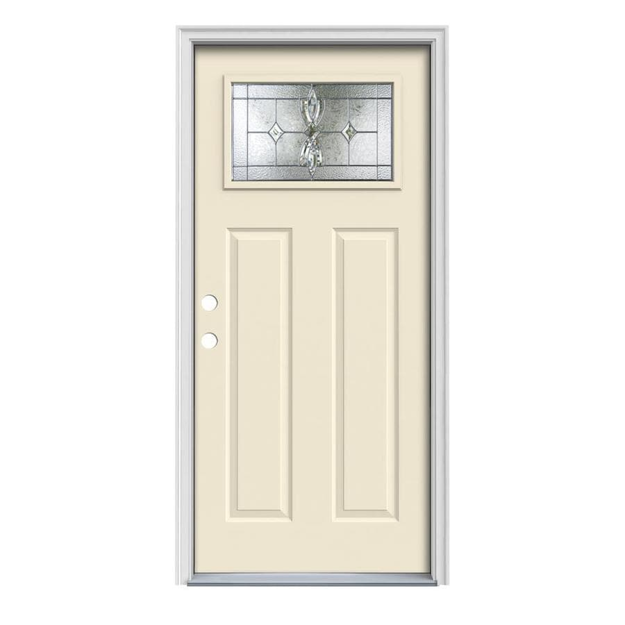 JELD-WEN Laurel Craftsman Insulating Core 1-Lite Right-Hand Inswing Bisque Steel Painted Prehung Entry Door (Common: 36-in x 80-in; Actual: 37.5-in x 81.75-in)