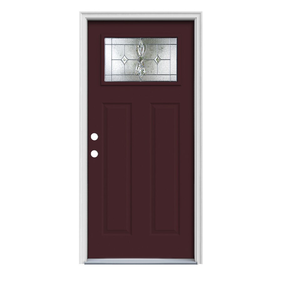 JELD-WEN Laurel Craftsman Insulating Core 1-Lite Right-Hand Inswing Currant Steel Painted Prehung Entry Door (Common: 36-in x 80-in; Actual: 37.5-in x 81.75-in)