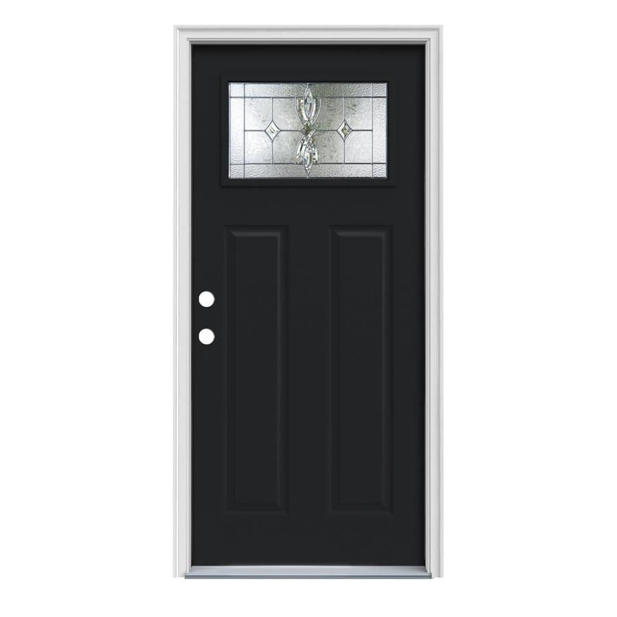 JELD-WEN Laurel Craftsman Insulating Core 1-Lite Right-Hand Inswing Peppercorn Steel Painted Prehung Entry Door (Common: 36-in x 80-in; Actual: 37.5-in x 81.75-in)