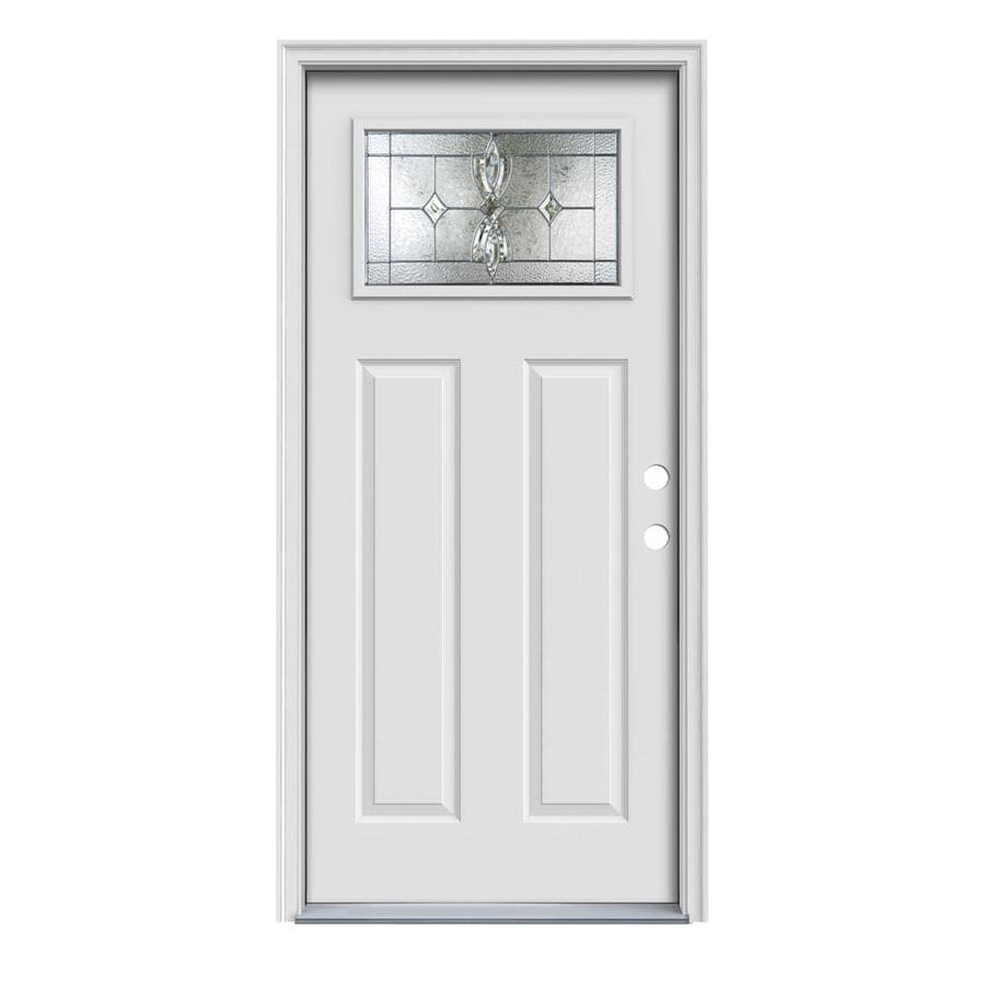 JELD-WEN Laurel Decorative Glass Left-Hand Inswing Primed Steel Prehung Entry Door with Insulating Core (Common: 36-in x 80-in; Actual: 37.5-in x 81.75-in)