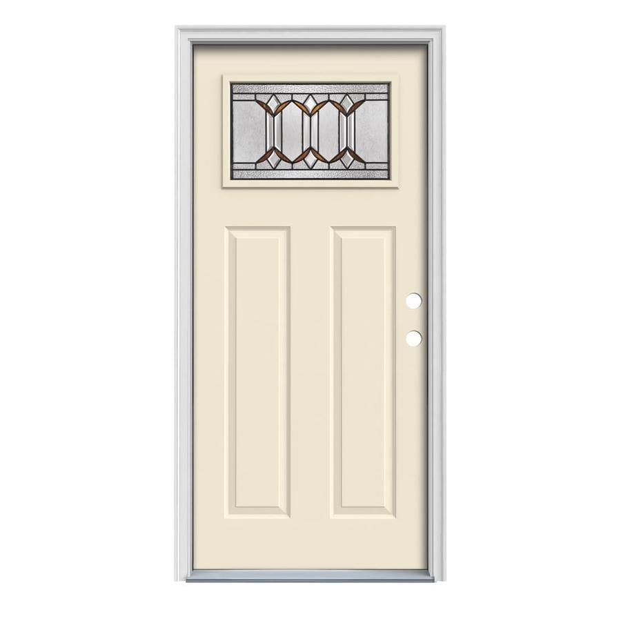 JELD-WEN Park Hill Decorative Glass Left-Hand Inswing Bisque Painted Steel Prehung Entry Door with Insulating Core (Common: 32-in x 80-in; Actual: 33.5000-in x 81.7500-in)