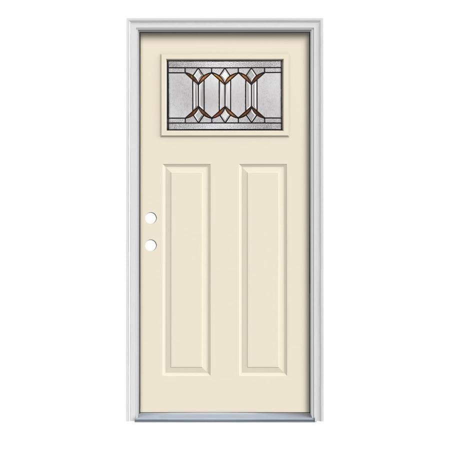 JELD-WEN Park Hill Decorative Glass Right-Hand Inswing Bisque Painted Steel Prehung Entry Door with Insulating Core (Common: 32-in x 80-in; Actual: 33.5000-in x 81.7500-in)