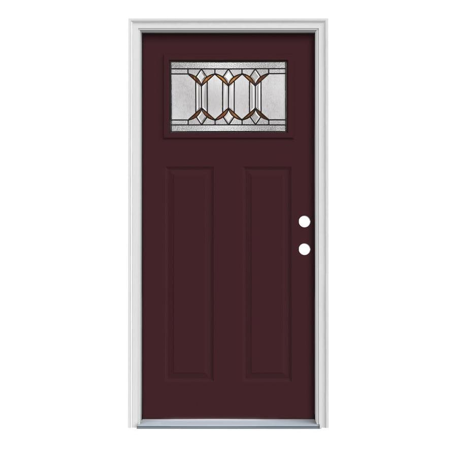 JELD-WEN Park Hill Craftsman Insulating Core 1-Lite Left-Hand Inswing Currant Steel Painted Prehung Entry Door (Common: 32-in x 80-in; Actual: 33.5-in x 81.75-in)