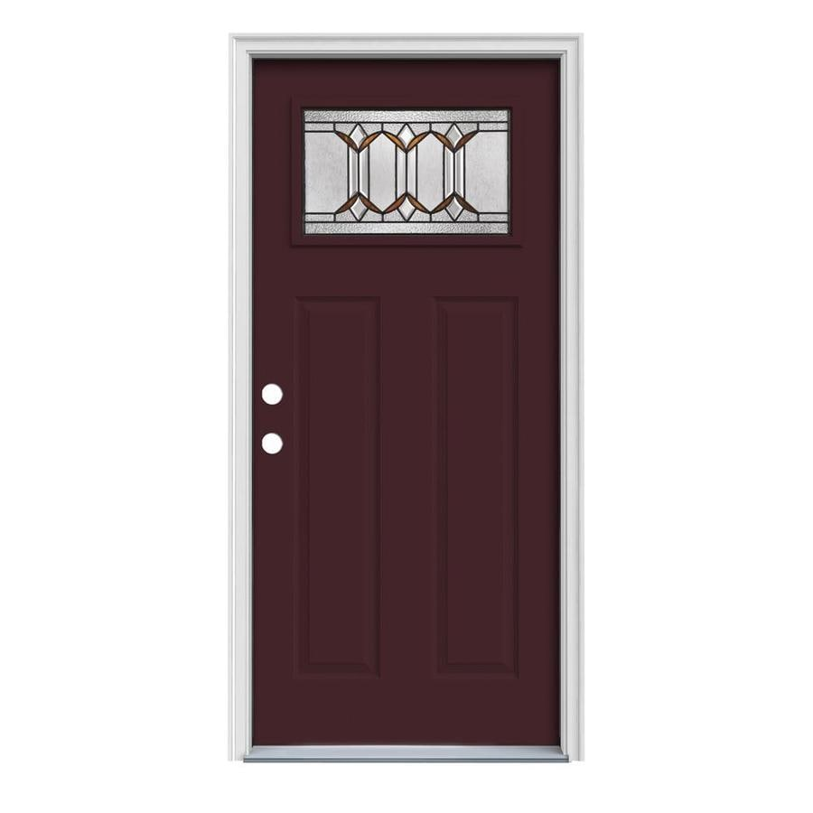 Decorative Metal Entry Doors : Shop jeld wen park hill decorative glass right hand