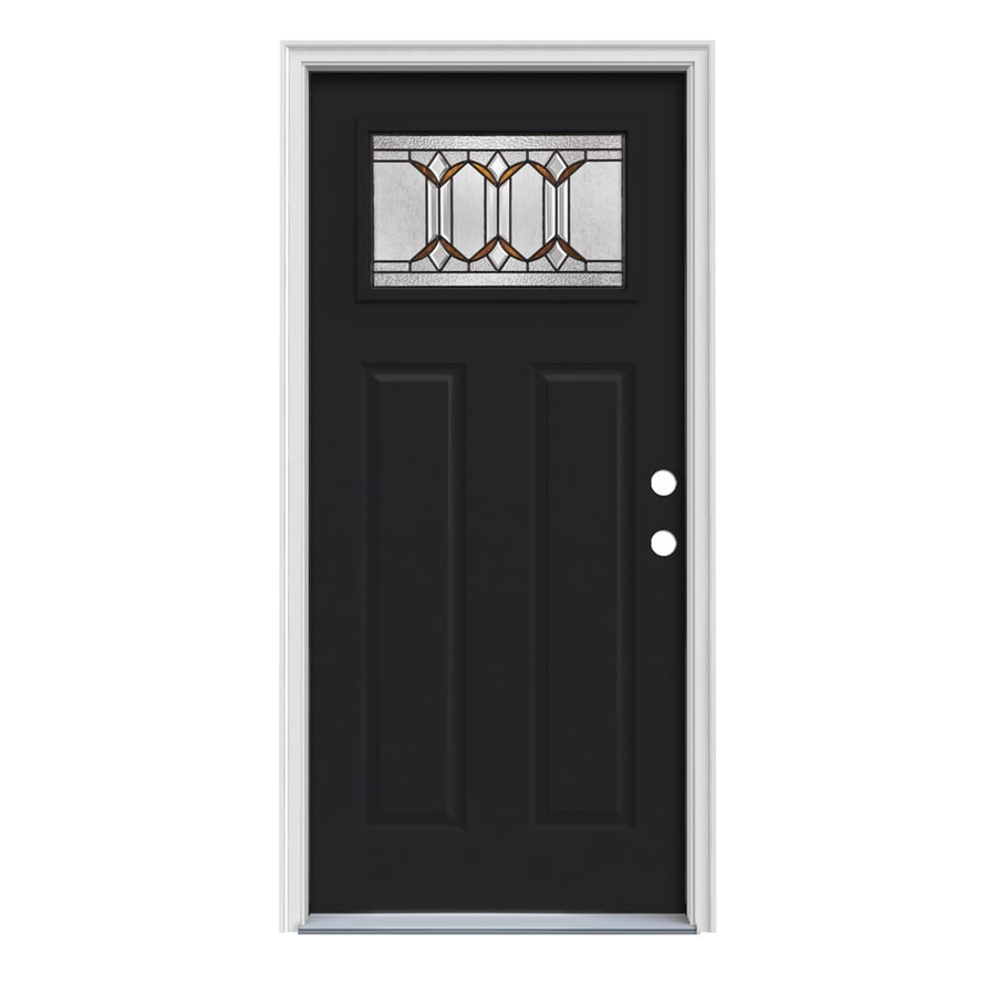 JELD-WEN Park Hill Craftsman Insulating Core 1-Lite Left-Hand Inswing Peppercorn Steel Painted Prehung Entry Door (Common: 32-in x 80-in; Actual: 33.5-in x 81.75-in)