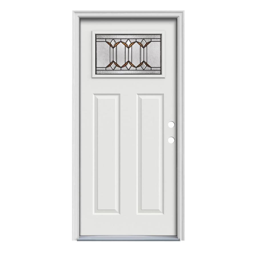 JELD-WEN Park Hill Craftsman Insulating Core 1-Lite Left-Hand Inswing Arctic White Steel Painted Prehung Entry Door (Common: 36-in x 80-in; Actual: 37.5-in x 81.75-in)