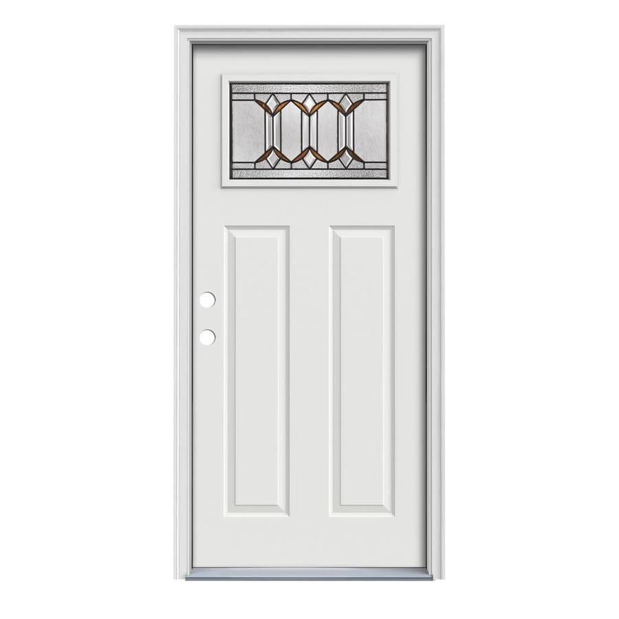 JELD-WEN Park Hill Craftsman Insulating Core 1-Lite Right-Hand Inswing Arctic White Steel Painted Prehung Entry Door (Common: 36-in x 80-in; Actual: 37.5-in x 81.75-in)
