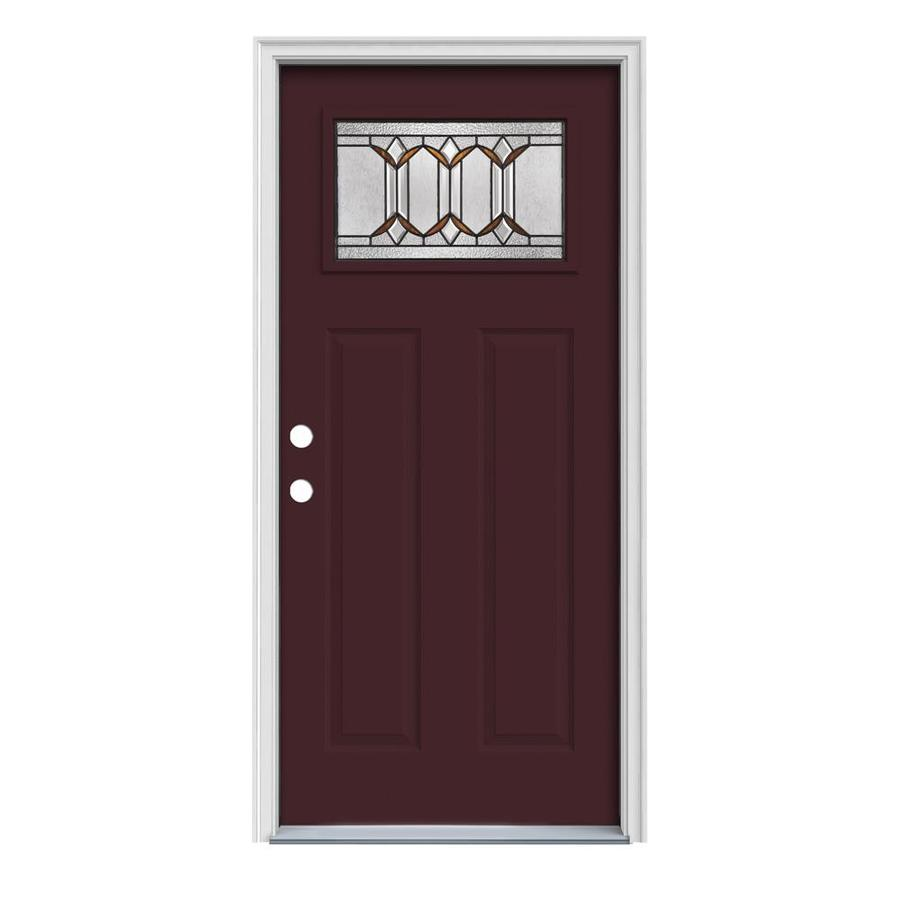 JELD-WEN Park Hill Decorative Glass Right-Hand Inswing Currant Painted Steel Prehung Entry Door with Insulating Core (Common: 36-in x 80-in; Actual: 37.5-in x 81.75-in)