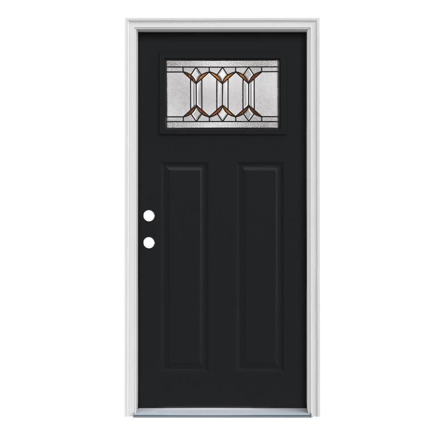 JELD-WEN Park Hill Decorative Glass Right-Hand Inswing Peppercorn Painted Steel Prehung Entry Door with Insulating Core (Common: 36-in x 80-in; Actual: 37.5000-in x 81.7500-in)