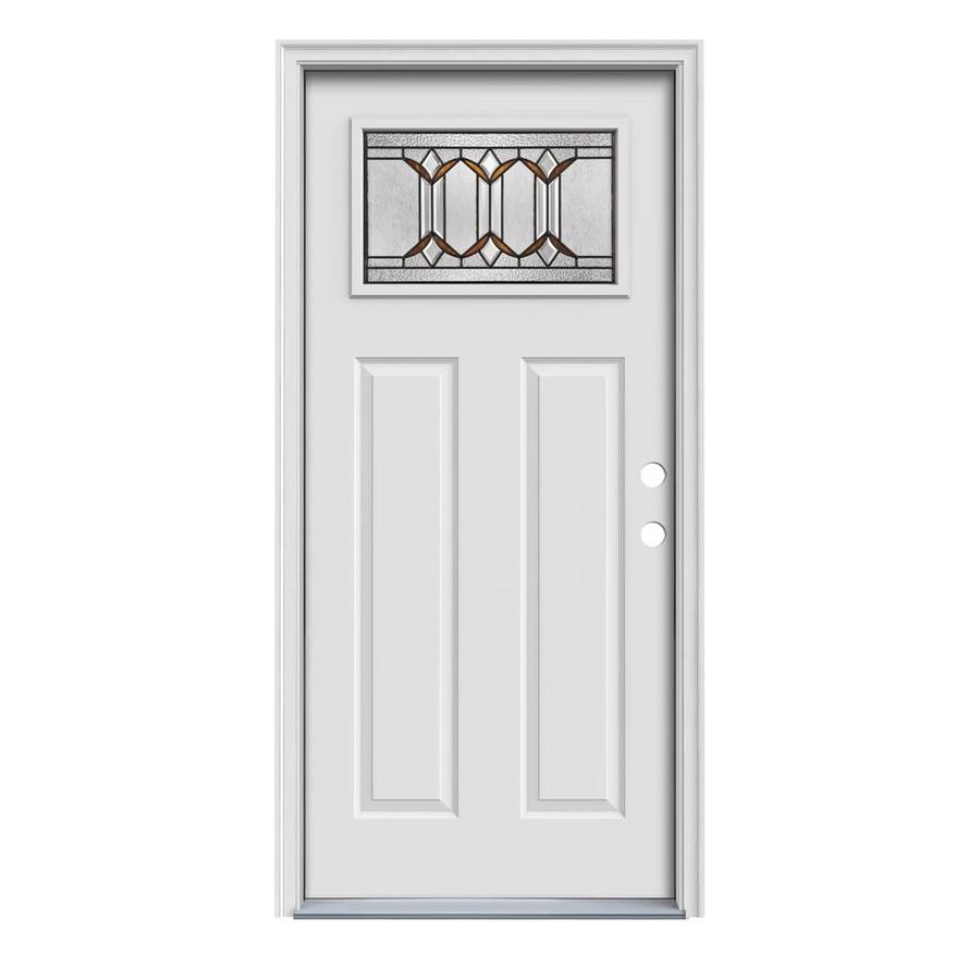JELD-WEN Park Hill Decorative Glass Left-Hand Inswing Primed Steel Prehung Entry Door with Insulating Core (Common: 36-in x 80-in; Actual: 37.5000-in x 81.7500-in)