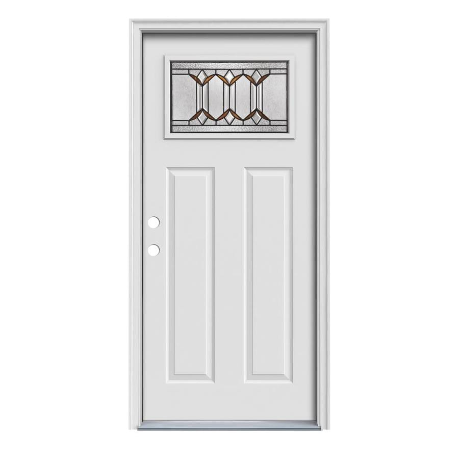 JELD-WEN Park Hill Decorative Glass Right-Hand Inswing Primed Steel Prehung Entry Door with Insulating Core (Common: 36-in x 80-in; Actual: 37.5000-in x 81.7500-in)