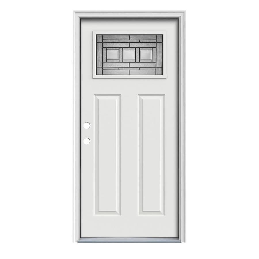 JELD-WEN Craftsman Glass Insulating Core 1-Lite Right-Hand Inswing Arctic White Steel Painted Prehung Entry Door (Common: 32-in x 80-in; Actual: 33.5-in x 81.75-in)