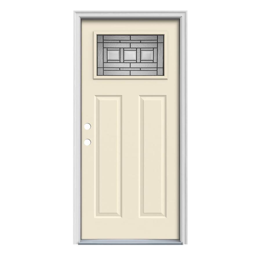 JELD-WEN Craftsman Glass Insulating Core 1-Lite Right-Hand Inswing Bisque Steel Painted Prehung Entry Door (Common: 32-in x 80-in; Actual: 33.5-in x 81.75-in)