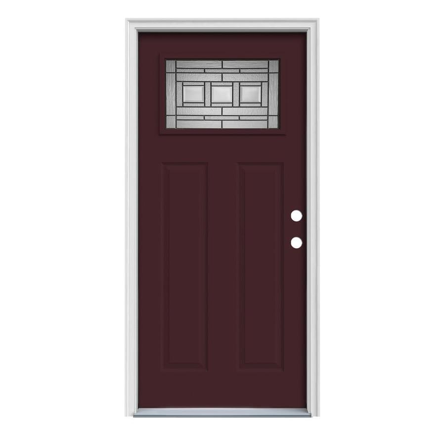 JELD-WEN Craftsman Glass Insulating Core 1-Lite Left-Hand Inswing Currant Steel Painted Prehung Entry Door (Common: 32-in x 80-in; Actual: 33.5-in x 81.75-in)