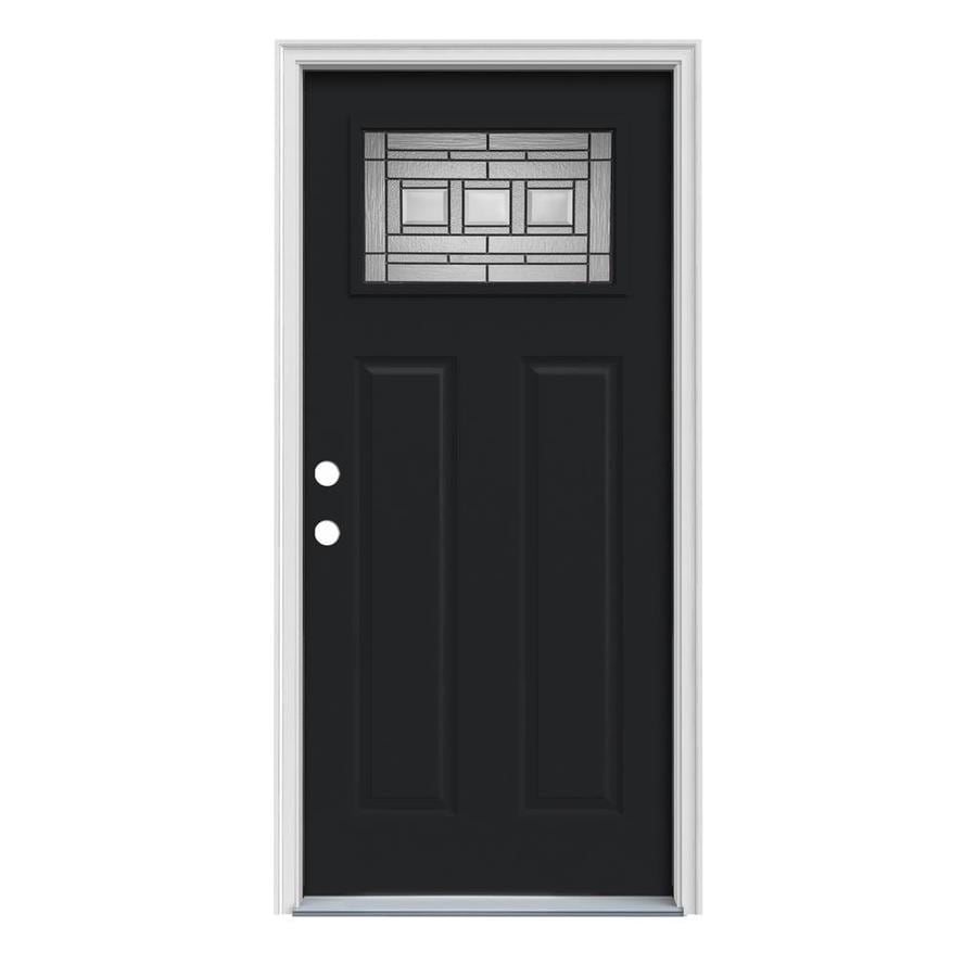 Shop jeld wen craftsman decorative glass right hand inswing peppercorn steel painted entry door - Painting a steel exterior door model ...