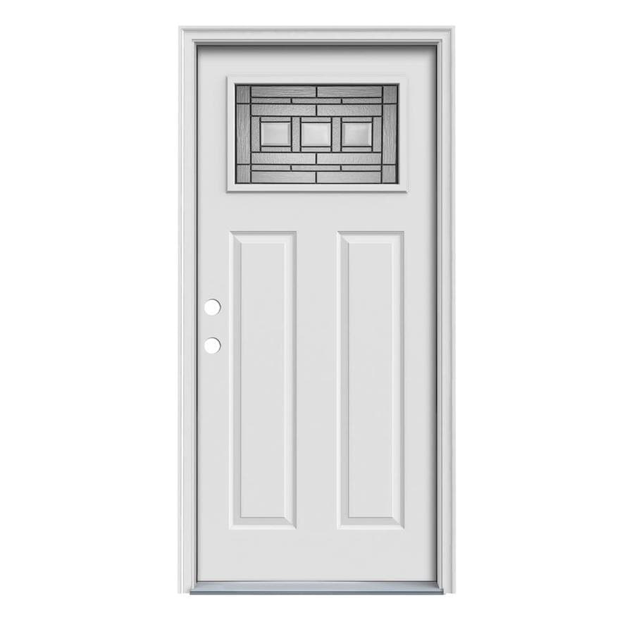 JELD-WEN Craftsman Decorative Glass Right-Hand Inswing Primed Steel Prehung Entry Door with Insulating Core (Common: 32-in x 80-in; Actual: 33.5000-in x 81.7500-in)