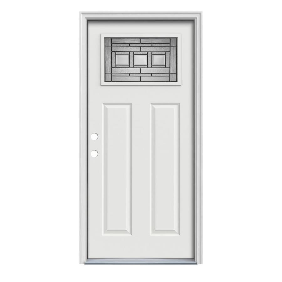 JELD-WEN Craftsman Glass Insulating Core 1-Lite Right-Hand Inswing Arctic White Steel Painted Prehung Entry Door (Common: 36-in x 80-in; Actual: 37.5-in x 81.75-in)