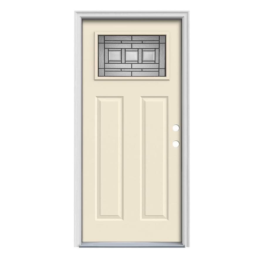 JELD-WEN Craftsman Decorative Glass Left-Hand Inswing Bisque Steel Painted Entry Door (Common: 36-in x 80-in; Actual: 37.5000-in x 81.7500-in)