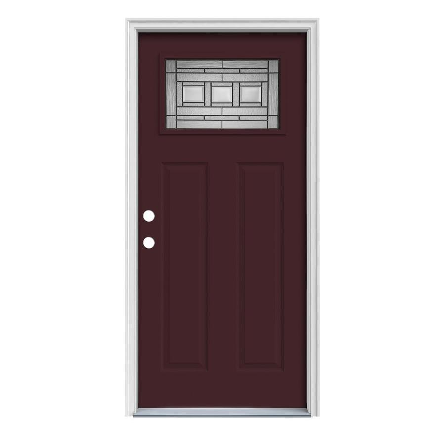 JELD-WEN Craftsman Glass Insulating Core 1-Lite Right-Hand Inswing Currant Steel Painted Prehung Entry Door (Common: 36-in x 80-in; Actual: 37.5-in x 81.75-in)