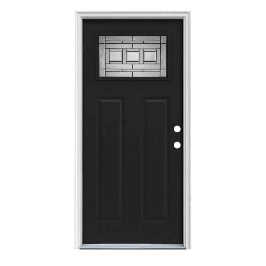 JELD-WEN Craftsman Decorative Glass Left-Hand Inswing Peppercorn Painted Steel Prehung Entry Door with Insulating Core (Common: 36-in x 80-in; Actual: 37.5-in x 81.75-in)
