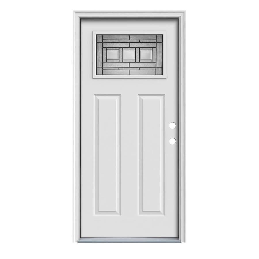 JELD-WEN Craftsman Decorative Glass Left-Hand Inswing Primed Steel Prehung Entry Door with Insulating Core (Common: 36-in x 80-in; Actual: 37.5-in x 81.75-in)
