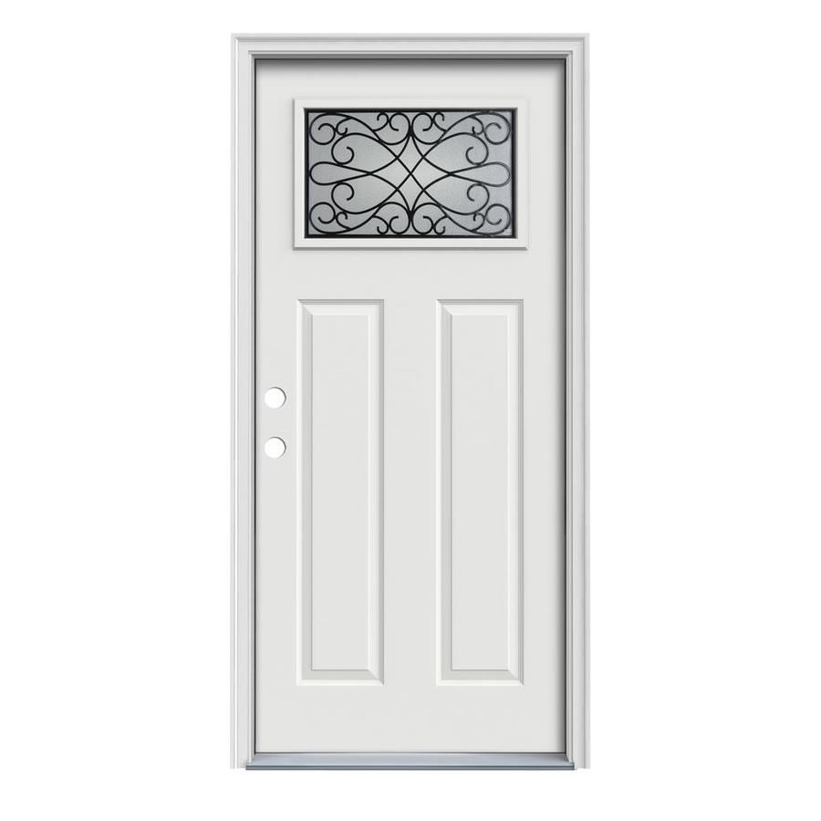 JELD-WEN Wyngate Decorative Glass Right-Hand Inswing Arctic White Painted Steel Prehung Entry Door with Insulating Core (Common: 32-in x 80-in; Actual: 33.5-in x 81.75-in)